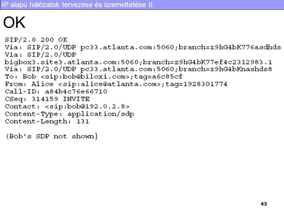 IP alapú hálózatok tervezése és üzemeltetése II. 43 OK