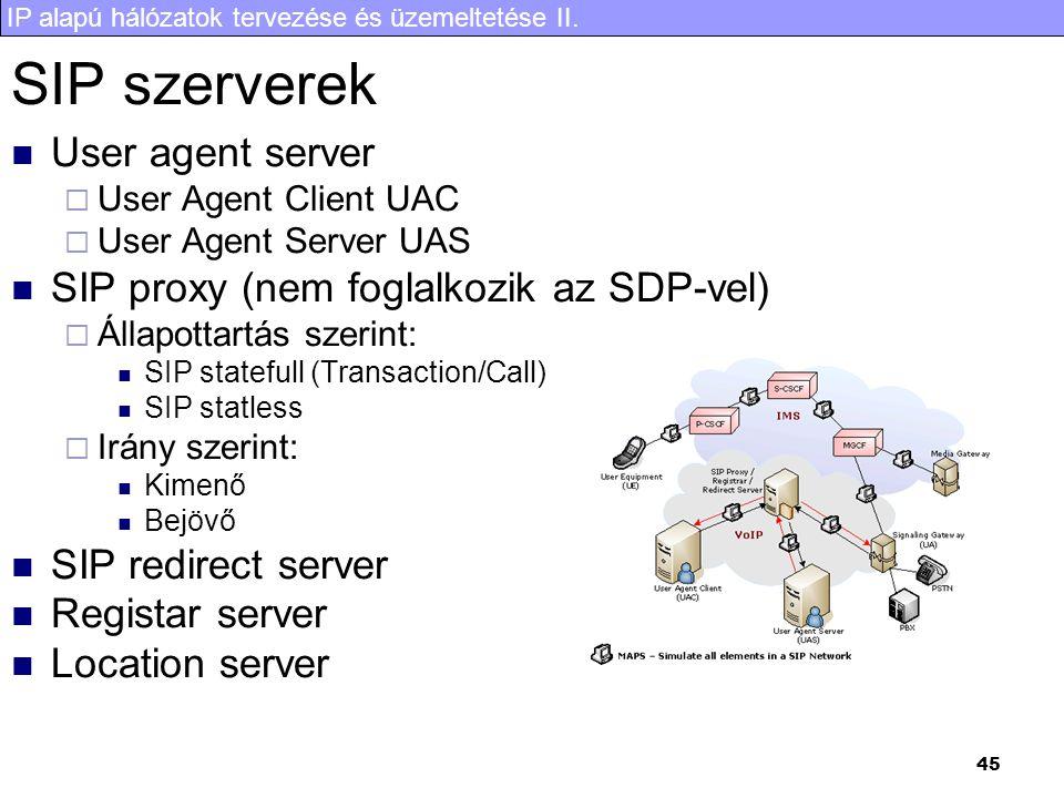 IP alapú hálózatok tervezése és üzemeltetése II. 45 SIP szerverek  User agent server  User Agent Client UAC  User Agent Server UAS  SIP proxy (nem