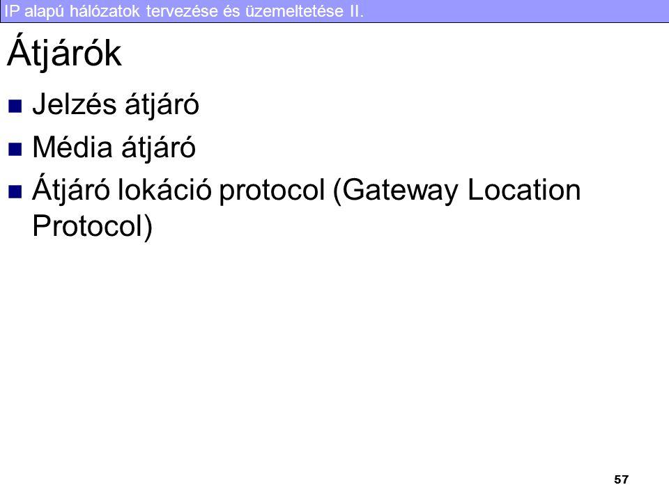 IP alapú hálózatok tervezése és üzemeltetése II. 57 Átjárók  Jelzés átjáró  Média átjáró  Átjáró lokáció protocol (Gateway Location Protocol)