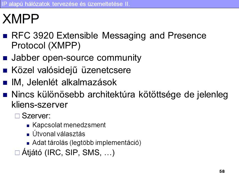 IP alapú hálózatok tervezése és üzemeltetése II. 58 XMPP  RFC 3920 Extensible Messaging and Presence Protocol (XMPP)  Jabber open-source community 