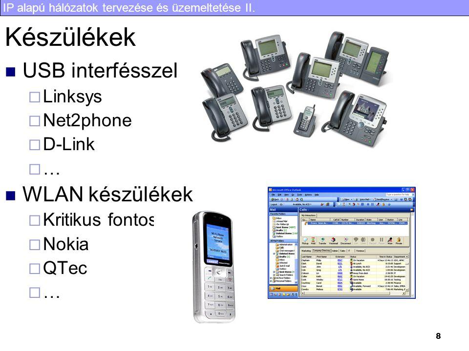 IP alapú hálózatok tervezése és üzemeltetése II. 8 Készülékek  USB interfésszel  Linksys  Net2phone  D-Link  …  WLAN készülékek  Kritikus fonto