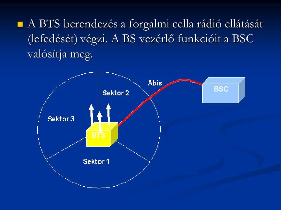  A BTS berendezés a forgalmi cella rádió ellátását (lefedését) végzi.