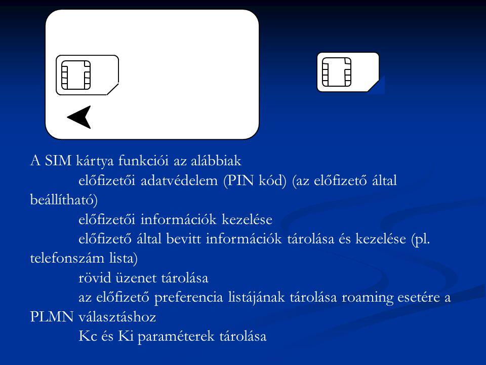 A SIM kártya funkciói az alábbiak előfizetői adatvédelem (PIN kód) (az előfizető által beállítható) előfizetői információk kezelése előfizető által bevitt információk tárolása és kezelése (pl.