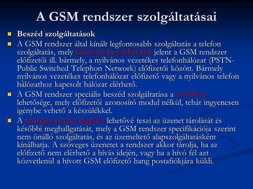 A GSM rendszer szolgáltatásai  Beszéd szolgáltatások  A GSM rendszer által kínált legfontosabb szolgáltatás a telefon szolgáltatás, mely kétirányú beszédátvitelt jelent a GSM rendszer előfizetői ill.