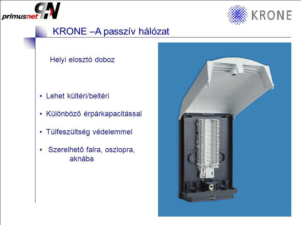 KRONE 3/98 Folie 9 KRONE –A passzív hálózat Hagyományos telefon rendszerek Telefon rendező felület LSA modulokkal :