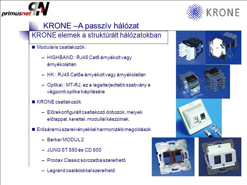 KRONE 3/98 Folie 14 KRONE –A passzív hálózat KRONE elemek a struktúrált hálózatokban  Az ISO/IEC 11 801, EN 50173 vagy EIA/TIA 568 szabvány szerint a struktúrált kábelezés képes kiszolgálni minden hang és adat igényt a telefontól a Gigabit Ethernetig (1000 Mbit)  Két alapvető megoldást használnak: árnyékolt és árnyékolatlan kábelezést  Azonos lengő és patch kábelekkel építendő ki mint a falikábel (árnyékolt)  Falicsatlakozó (RJ 45, csupaszításmentes = késes érintkező)  Rendező panelek (RJ 45 patchpanel) –Lehet moduláris vagy fix, 1U (2 coll) helyen max 32 port zsúfolható össze  4 érpár kapcsolat van a falicsatlakozó és a rendezőpanel között (mind a 8 ér)