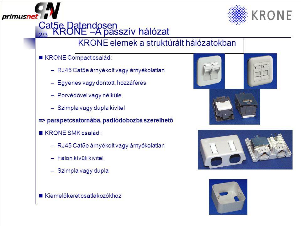 KRONE 3/98 Folie 15 KRONE –A passzív hálózat KRONE elemek a struktúrált hálózatokban  Moduláris csatlakozók : –HIGHBAND : RJ45 Cat6 árnyékolt vagy árnyékolatlan –HK : RJ45 Cat5e árnyékolt vagy árnyékolatlan –Optikai : MT-RJ, ez a legelterjedtebb szabvány a végponti optika kiépítésére  KRONE csatlakozók –Előrekonfigurált csatlakozó dobozok, melyek előlappal, kerettel, modullal készülnek.