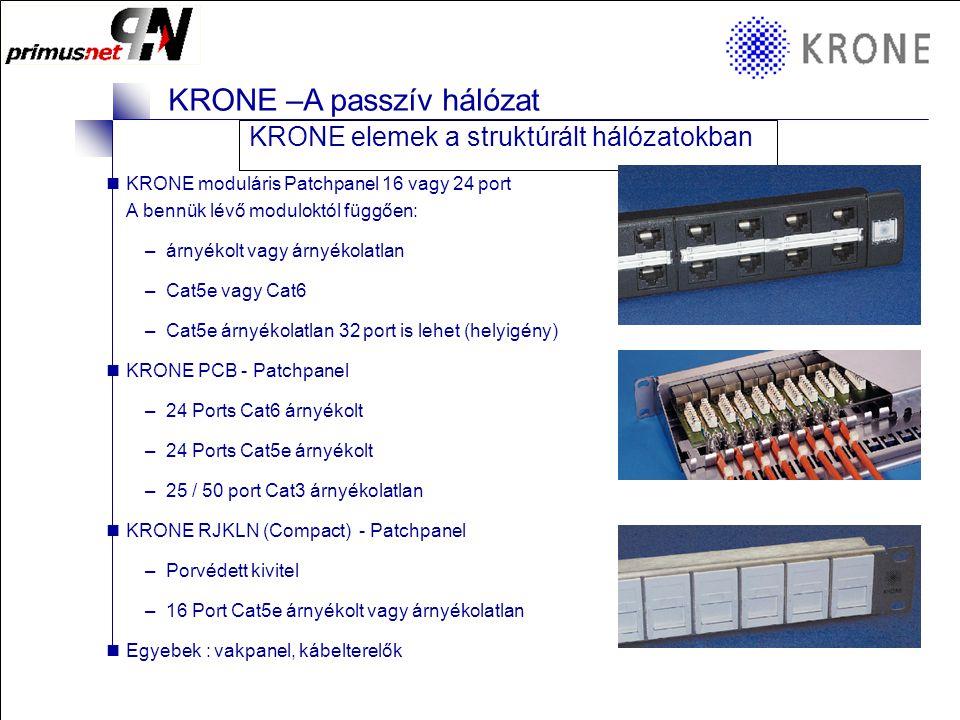 KRONE 3/98 Folie 17 KRONE –A passzív hálózat KRONE elemek a struktúrált hálózatokban  KRONE elosztó box: –RJ45 Cat5e árnyékolt vagy árnyékolatlan –6, 8, 10 vagy 12 port –Porvédővel vagy nélküle –Kis helyigény néhány végpont végződtetésére => Kitűnő megoldás sziget szerű asztalok közepén elhelyezni a csoport végpontjaiként