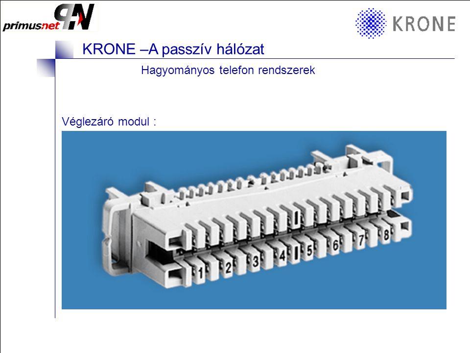 KRONE 3/98 Folie 18 KRONE –A passzív hálózat KRONE elemek a struktúrált hálózatokban  KRONE moduláris Patchpanel 16 vagy 24 port A bennük lévő moduloktól függően: –árnyékolt vagy árnyékolatlan –Cat5e vagy Cat6 –Cat5e árnyékolatlan 32 port is lehet (helyigény)  KRONE PCB - Patchpanel –24 Ports Cat6 árnyékolt –24 Ports Cat5e árnyékolt –25 / 50 port Cat3 árnyékolatlan  KRONE RJKLN (Compact) - Patchpanel –Porvédett kivitel –16 Port Cat5e árnyékolt vagy árnyékolatlan  Egyebek : vakpanel, kábelterelők