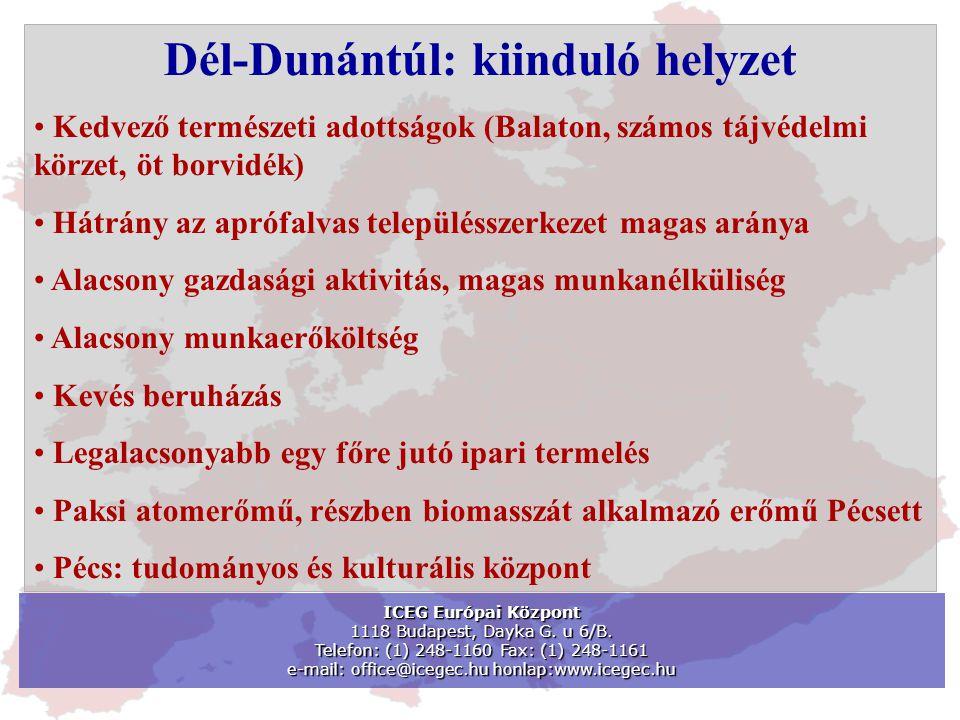 Dél-Dunántúl: kiinduló helyzet • Kedvező természeti adottságok (Balaton, számos tájvédelmi körzet, öt borvidék) • Hátrány az aprófalvas településszerk