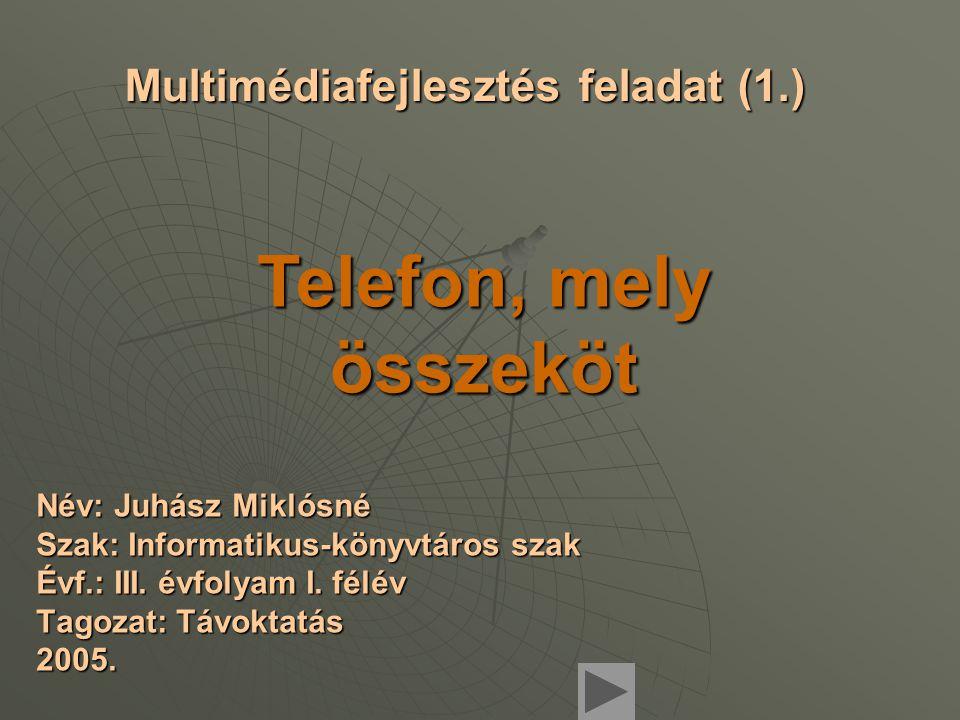 Multimédiafejlesztés feladat (1.) Név: Juhász Miklósné Szak: Informatikus-könyvtáros szak Évf.: III.