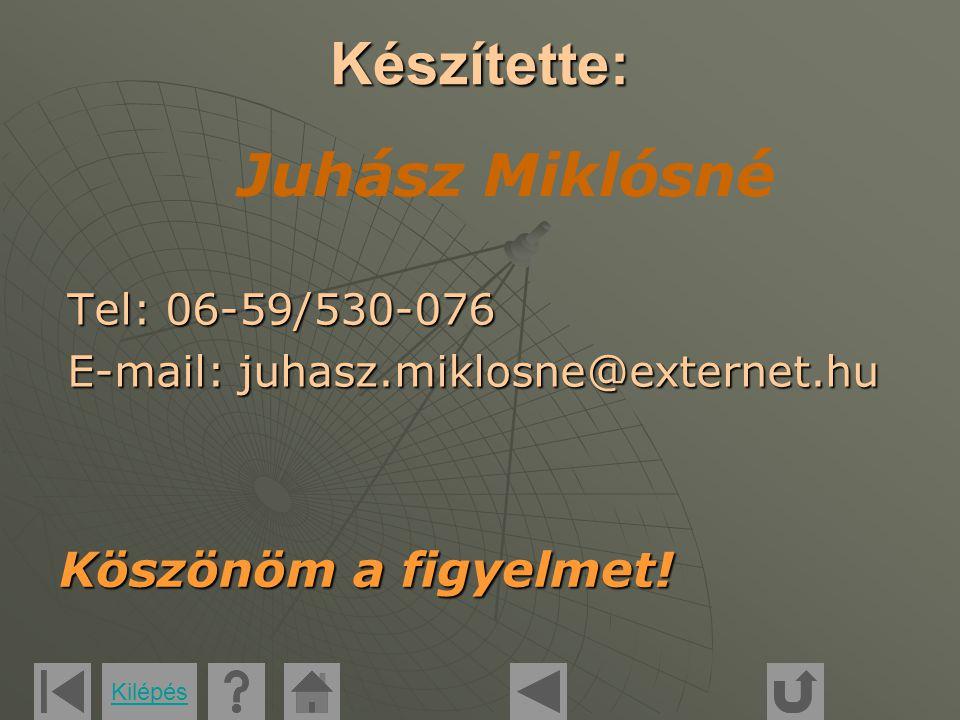 Készítette: Tel: 06-59/530-076 E-mail: juhasz.miklosne@externet.hu Köszönöm a figyelmet.