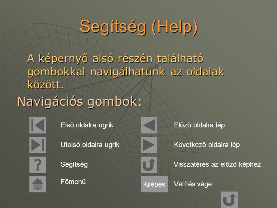Segítség (Help) A képernyő alsó részén található gombokkal navigálhatunk az oldalak között.