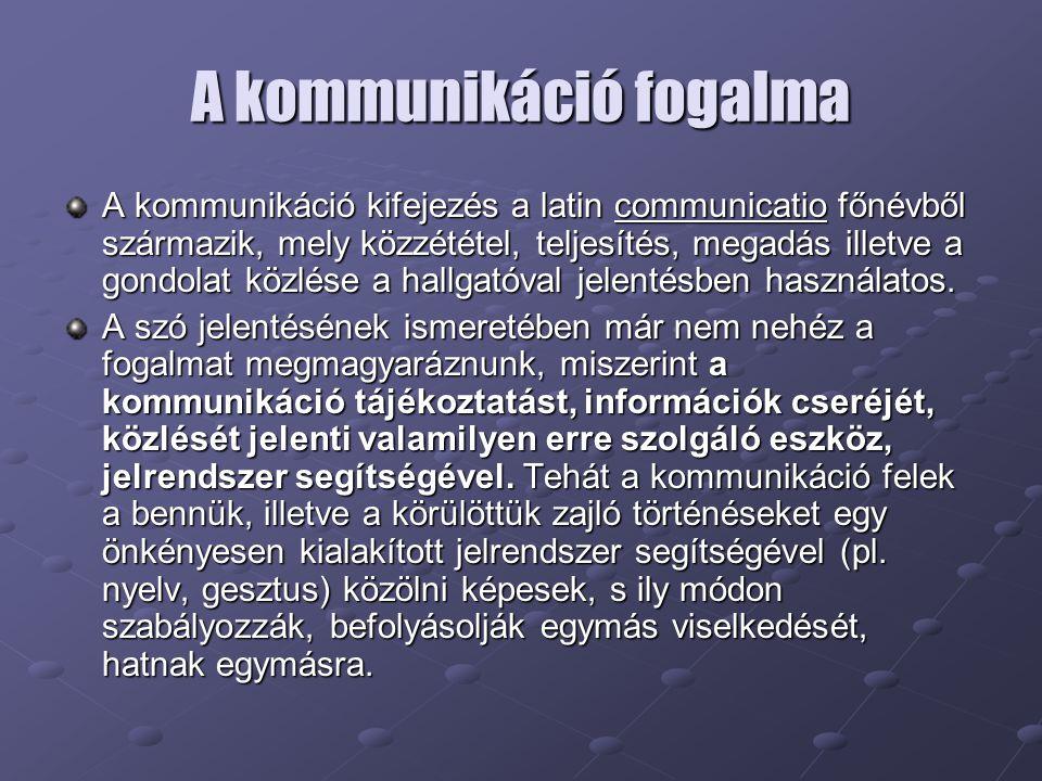 A kommunikáció fogalma A kommunikáció kifejezés a latin communicatio főnévből származik, mely közzététel, teljesítés, megadás illetve a gondolat közlése a hallgatóval jelentésben használatos.