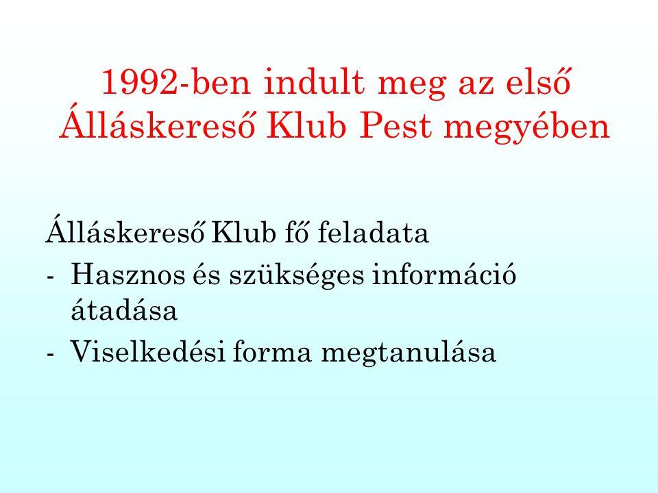 1992-ben indult meg az első Álláskereső Klub Pest megyében Álláskereső Klub fő feladata -Hasznos és szükséges információ átadása -Viselkedési forma me