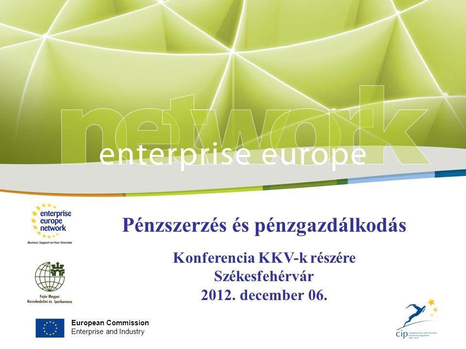 European Commission Enterprise and Industry Pénzszerzés és pénzgazdálkodás Konferencia KKV-k részére Székesfehérvár 2012.