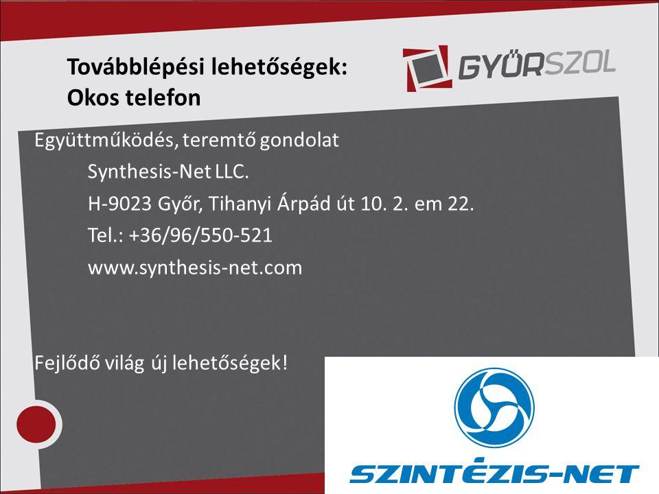 Együttműködés, teremtő gondolat Synthesis-Net LLC. H-9023 Győr, Tihanyi Árpád út 10. 2. em 22. Tel.: +36/96/550-521 www.synthesis-net.com Fejlődő vilá