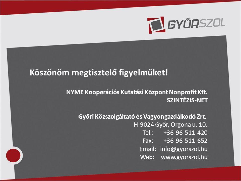Köszönöm megtisztelő figyelmüket! NYME Kooperációs Kutatási Központ Nonprofit Kft. SZINTÉZIS-NET Győri Közszolgáltató és Vagyongazdálkodó Zrt. H-9024