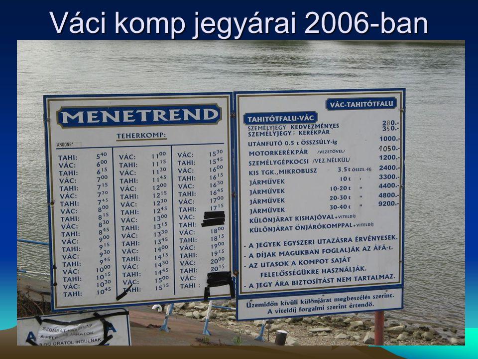 Váci komp jegyárai 2006-ban *az ár a vezető jegyét nem tartalmazza, a vezetőnek külön személyjegyet kell váltania