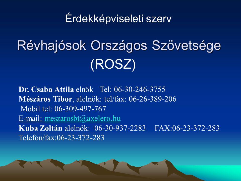 Révhajósok Országos Szövetsége (ROSZ) Érdekképviseleti szerv Dr. Csaba Attila elnök Tel: 06-30-246-3755 Mészáros Tibor, alelnök: tel/fax: 06-26-389-20