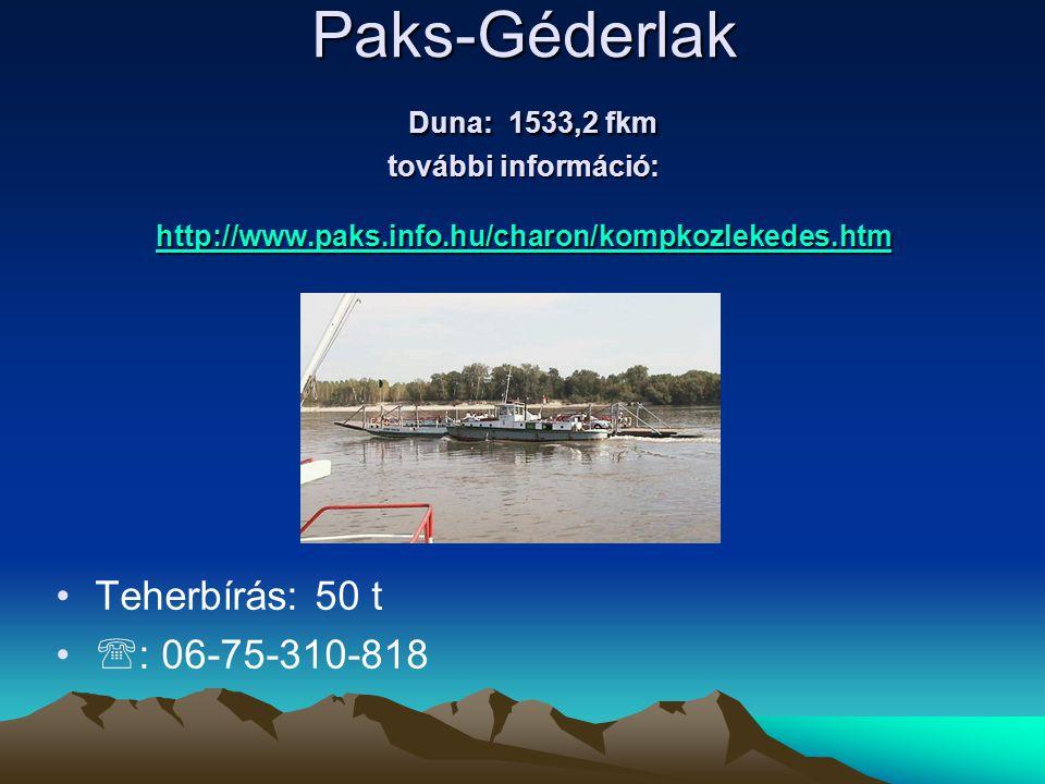 Paks-Géderlak Duna: 1533,2 fkm további információ: http://www.paks.info.hu/charon/kompkozlekedes.htm http://www.paks.info.hu/charon/kompkozlekedes.htm