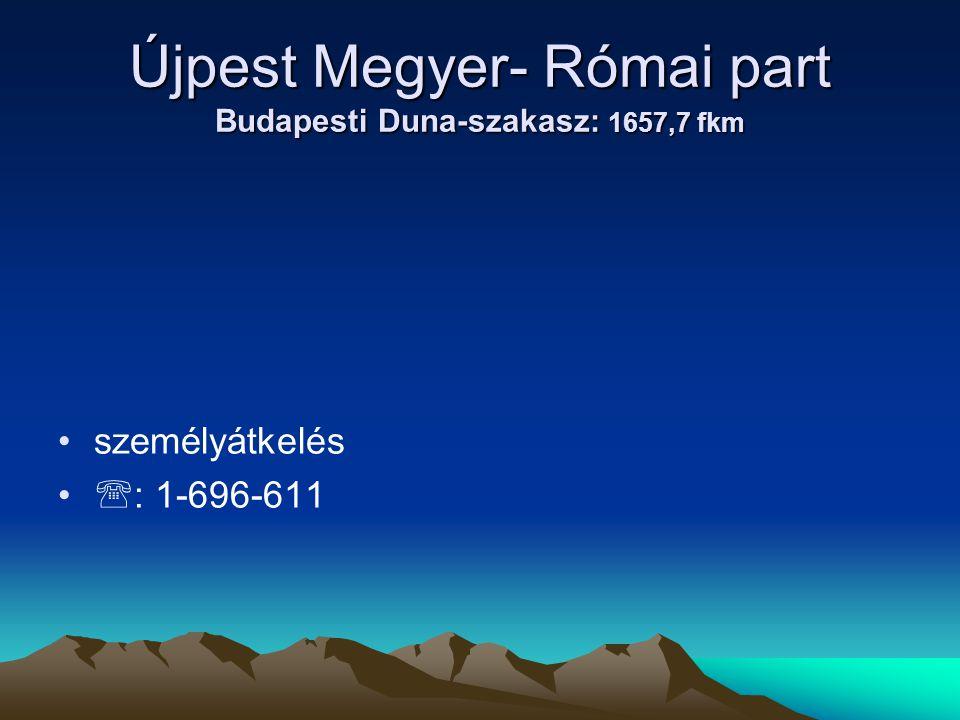 Újpest Megyer- Római part Budapesti Duna-szakasz: 1657,7 fkm • •személyátkelés • •  : 1-696-611