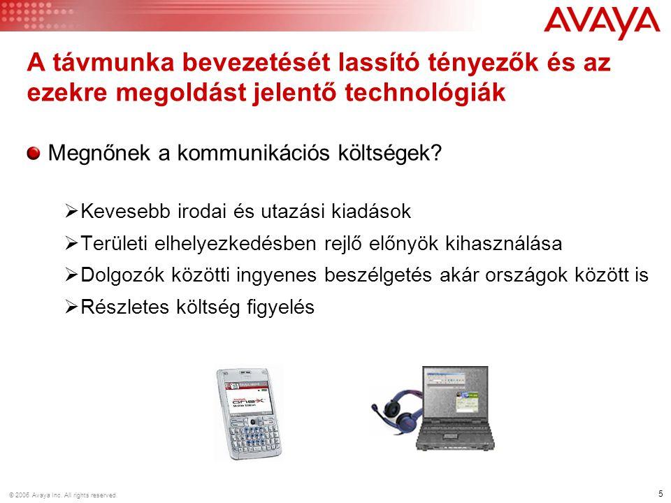 5 © 2006 Avaya Inc. All rights reserved. Megnőnek a kommunikációs költségek?  Kevesebb irodai és utazási kiadások  Területi elhelyezkedésben rejlő e
