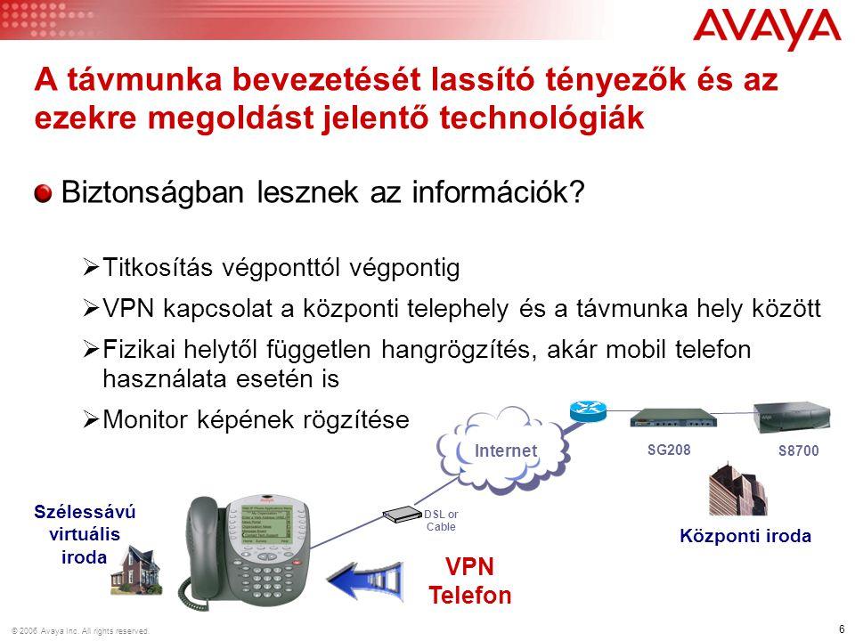 6 © 2006 Avaya Inc. All rights reserved. Biztonságban lesznek az információk?  Titkosítás végponttól végpontig  VPN kapcsolat a központi telephely é