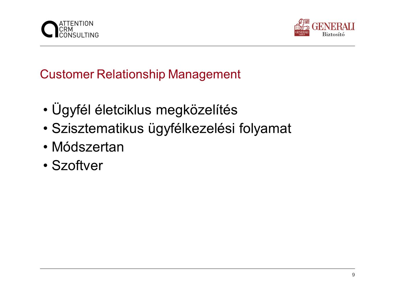 9 Customer Relationship Management •Ügyfél életciklus megközelítés •Szisztematikus ügyfélkezelési folyamat •Módszertan •Szoftver