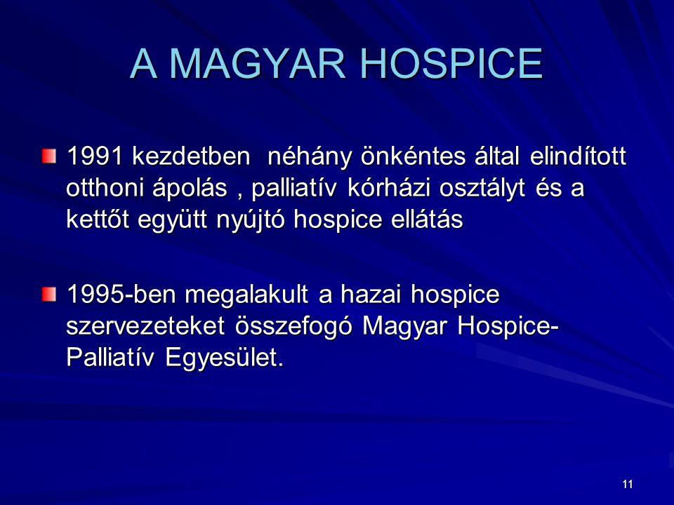 11 A MAGYAR HOSPICE 1991 kezdetben néhány önkéntes által elindított otthoni ápolás, palliatív kórházi osztályt és a kettőt együtt nyújtó hospice ellátás 1995-ben megalakult a hazai hospice szervezeteket összefogó Magyar Hospice- Palliatív Egyesület.