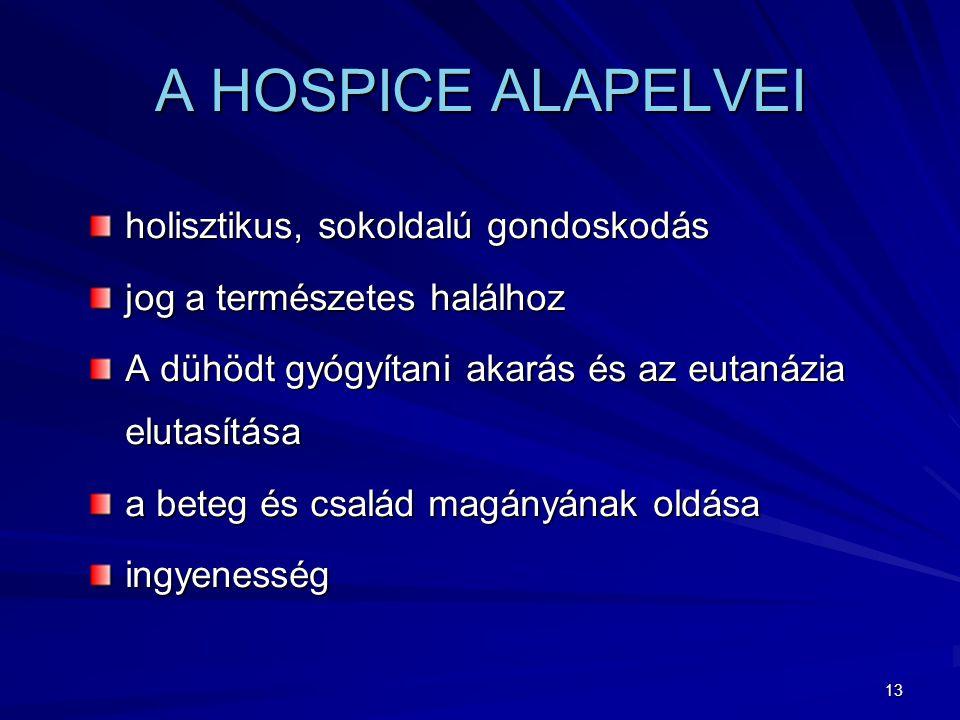 13 A HOSPICE ALAPELVEI holisztikus, sokoldalú gondoskodás jog a természetes halálhoz A dühödt gyógyítani akarás és az eutanázia elutasítása a beteg és család magányának oldása ingyenesség
