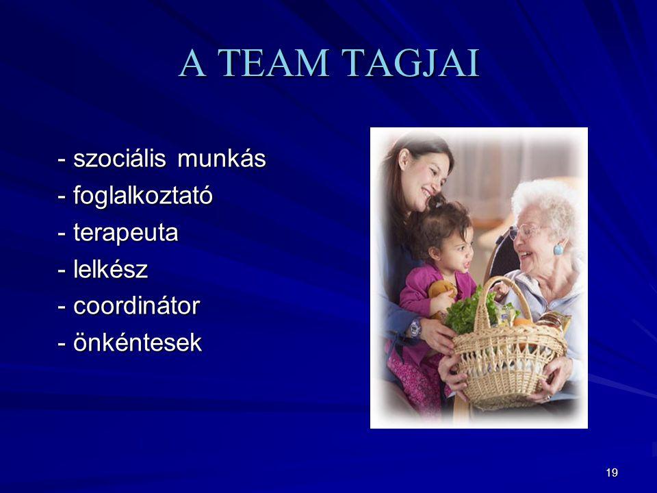 19 A TEAM TAGJAI - szociális munkás - szociális munkás - foglalkoztató - foglalkoztató - terapeuta - terapeuta - lelkész - lelkész - coordinátor - coordinátor - önkéntesek - önkéntesek