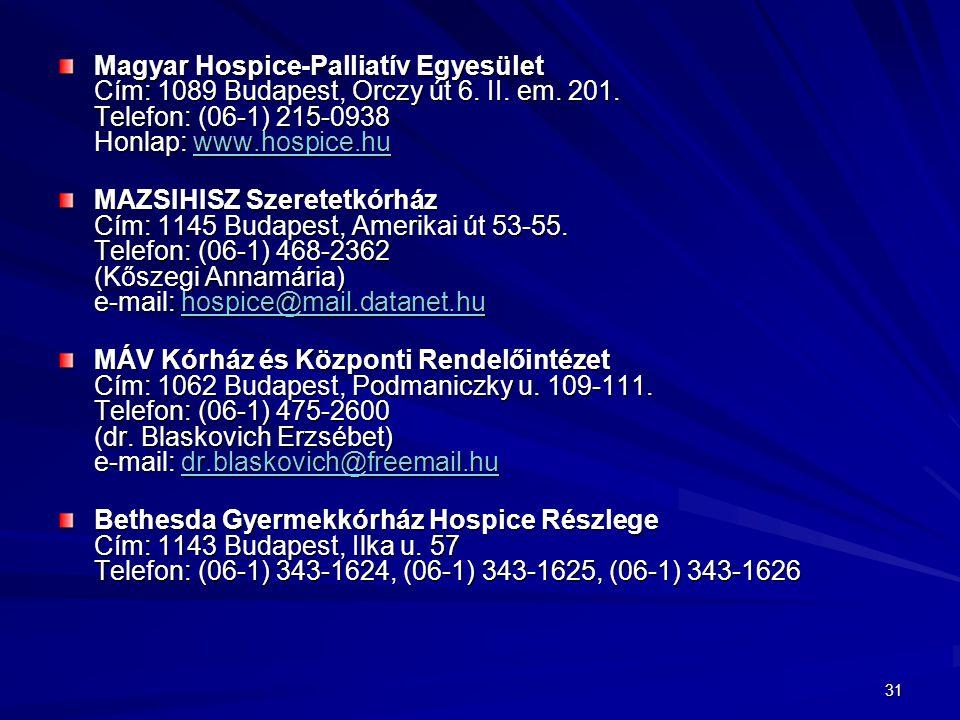 31 Magyar Hospice-Palliatív Egyesület Cím: 1089 Budapest, Orczy út 6.