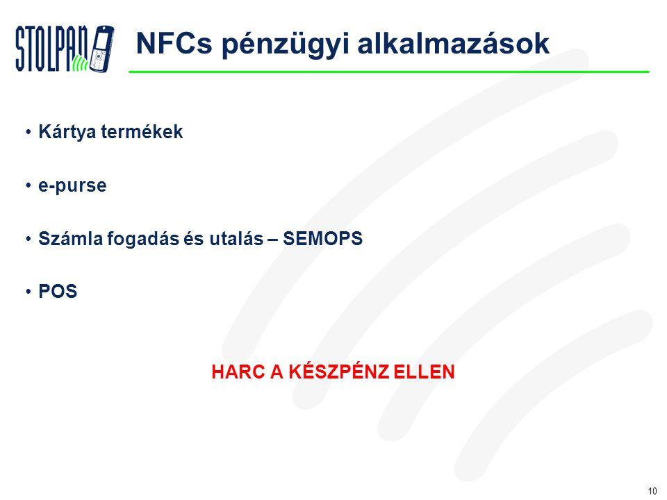 10 NFCs pénzügyi alkalmazások •Kártya termékek •e-purse •Számla fogadás és utalás – SEMOPS •POS HARC A KÉSZPÉNZ ELLEN