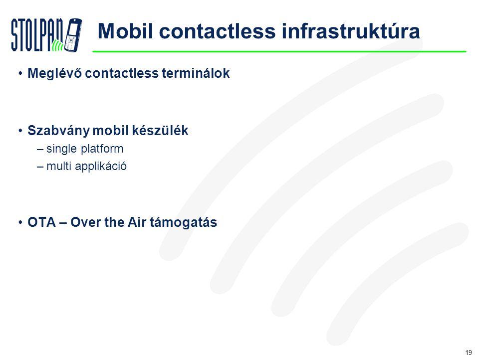 19 Mobil contactless infrastruktúra •Meglévő contactless terminálok •Szabvány mobil készülék –single platform –multi applikáció •OTA – Over the Air támogatás