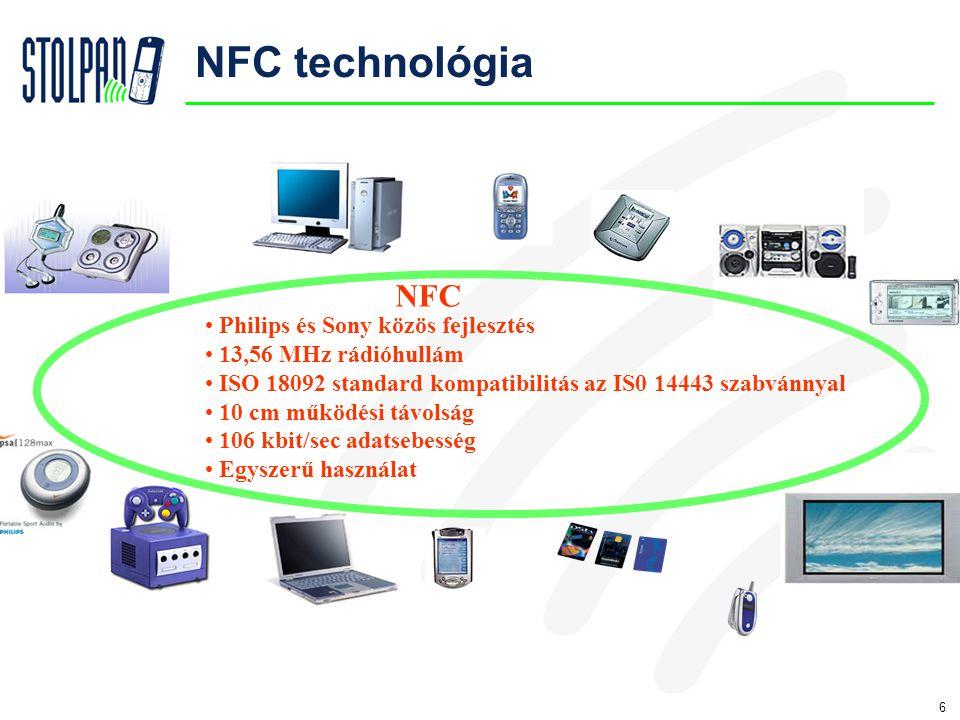 6 NFC technológia • Philips és Sony közös fejlesztés • 13,56 MHz rádióhullám • ISO 18092 standard kompatibilitás az IS0 14443 szabvánnyal • 10 cm működési távolság • 106 kbit/sec adatsebesség • Egyszerű használat NFC