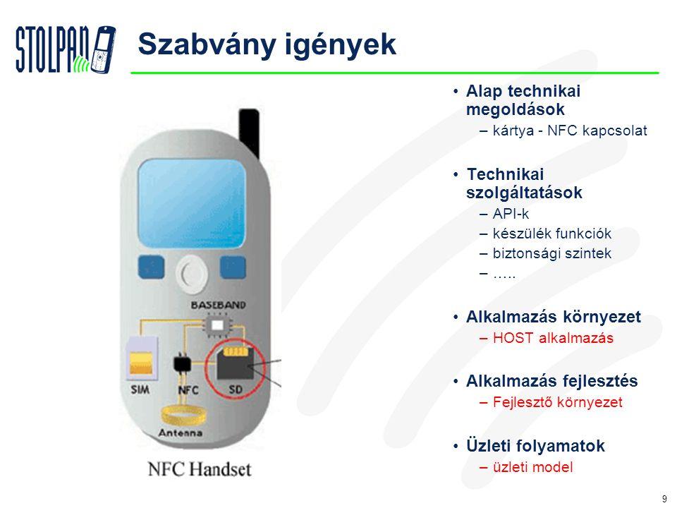 9 Szabvány igények •Alap technikai megoldások –kártya - NFC kapcsolat •Technikai szolgáltatások –API-k –készülék funkciók –biztonsági szintek –…..