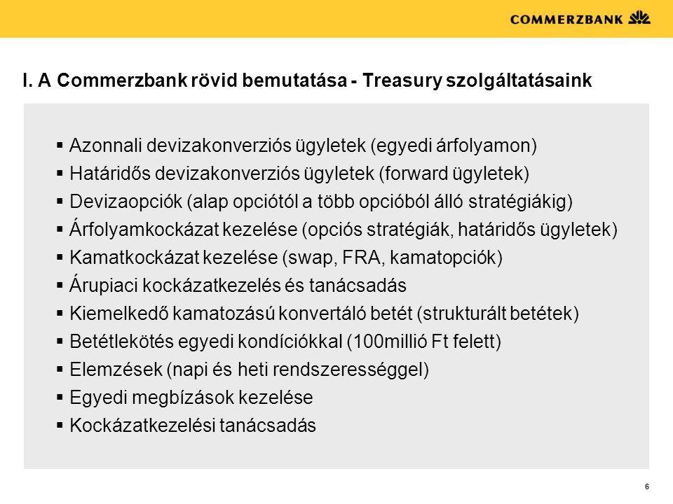 6 I. A Commerzbank rövid bemutatása - Treasury szolgáltatásaink  Azonnali devizakonverziós ügyletek (egyedi árfolyamon)  Határidős devizakonverziós