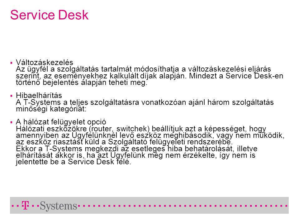 Service Desk  Változáskezelés Az ügyfél a szolgáltatás tartalmát módosíthatja a változáskezelési eljárás szerint, az eseményekhez kalkulált díjak alapján.