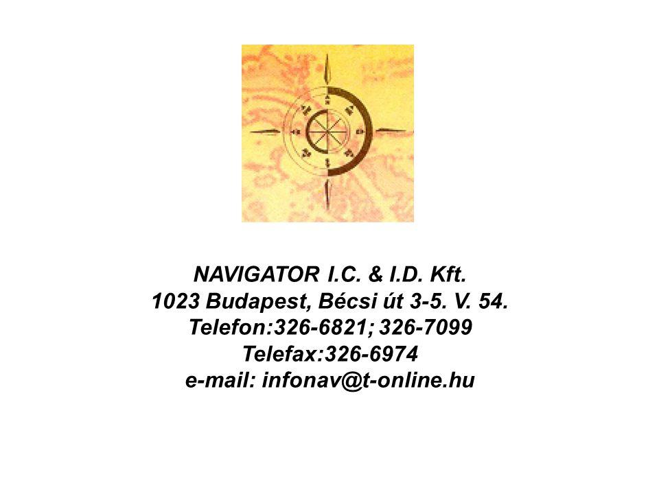 NAVIGATOR I.C. & I.D. Kft. 1023 Budapest, Bécsi út 3-5. V. 54. Telefon:326-6821; 326-7099 Telefax:326-6974 e-mail: infonav@t-online.hu