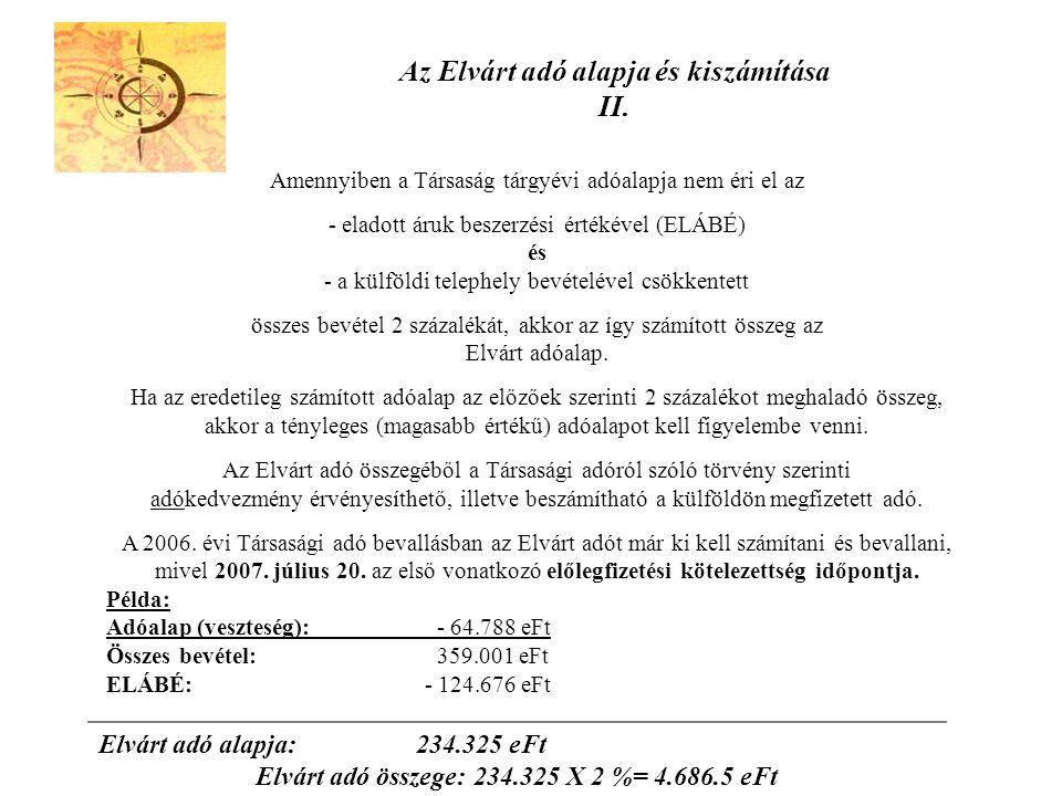 Az Elvárt adó alapja és kiszámítása II.
