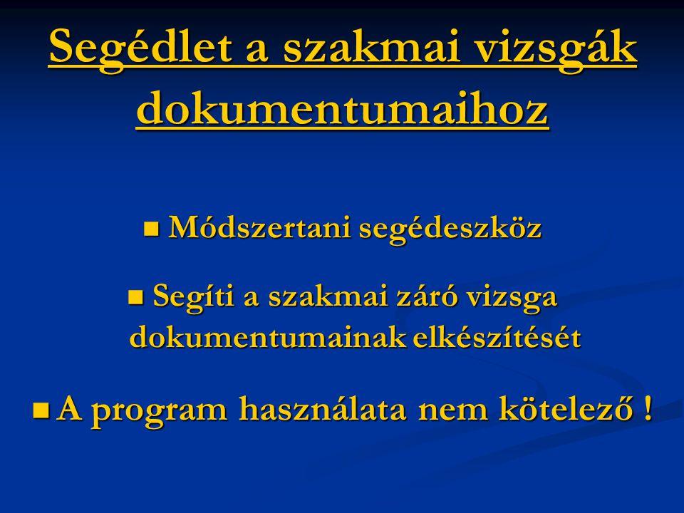 SegédletSegédlet a szakmai vizsgák dokumentumaihoz Segédlet  Módszertani segédeszköz  Segíti a szakmai záró vizsga dokumentumainak elkészítését  A