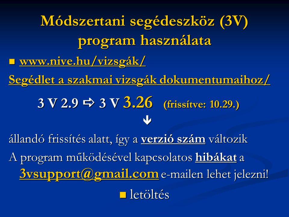 Módszertani segédeszköz (3V) program használata  www.nive.hu/vizsgák/ www.nive.hu/vizsgák/ SegédletSegédlet a szakmai vizsgák dokumentumaihoz/ Segédl