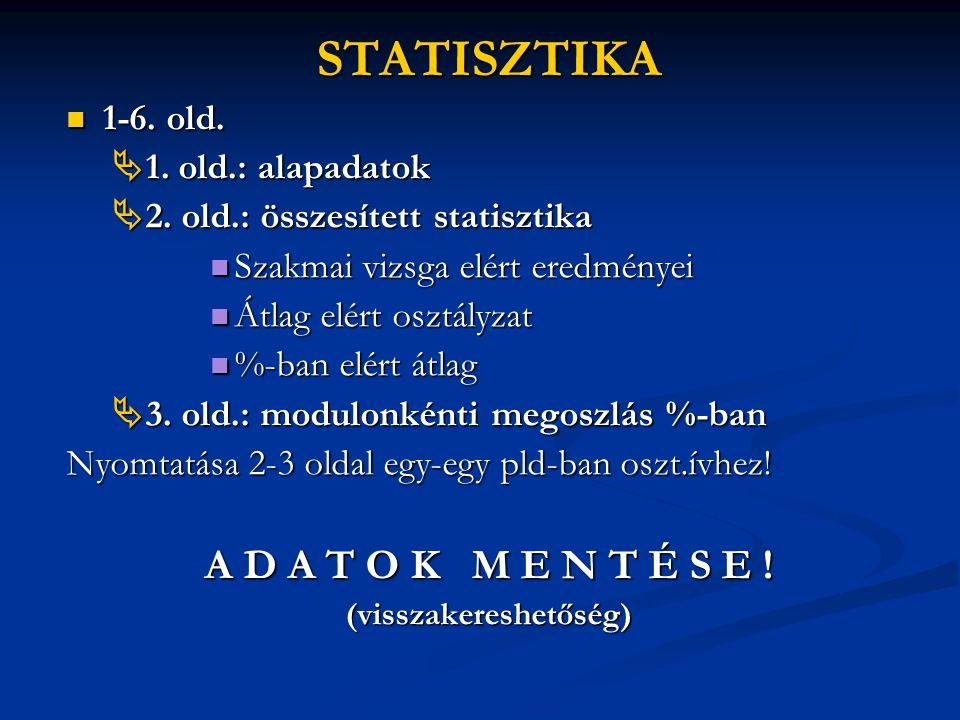 STATISZTIKA  1-6. old.  1. old.: alapadatok  1. old.: alapadatok  2. old.: összesített statisztika  2. old.: összesített statisztika  Szakmai vi