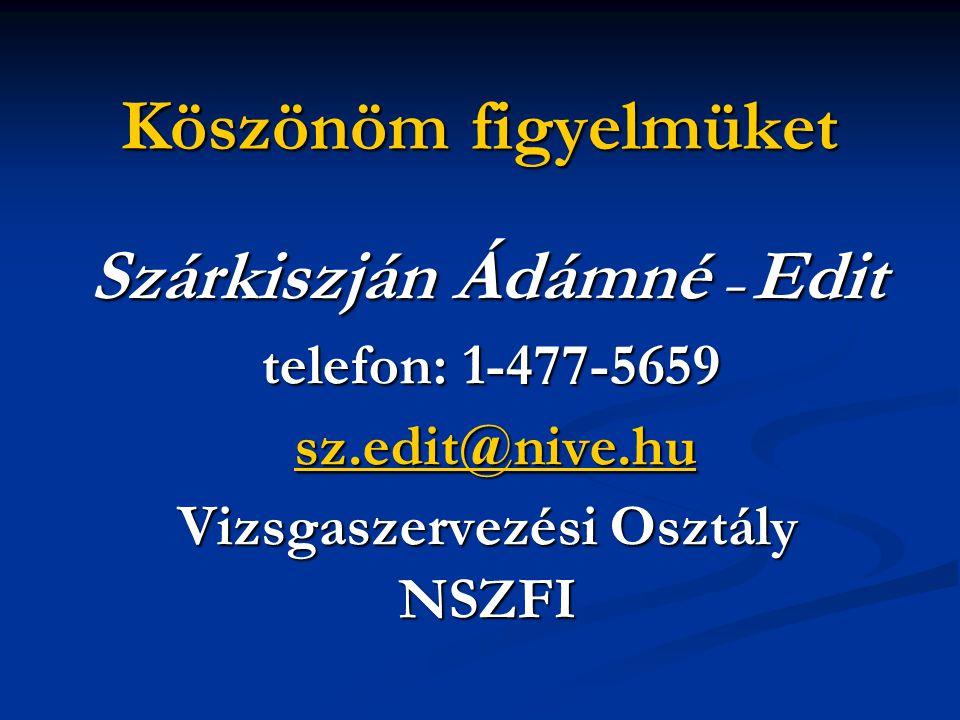 Köszönöm figyelmüket Szárkiszján Ádámné – Edit telefon: 1-477-5659 telefon: 1-477-5659 sz.edit@nive.hu sz.edit@nive.husz.edit@nive.hu Vizsgaszervezési