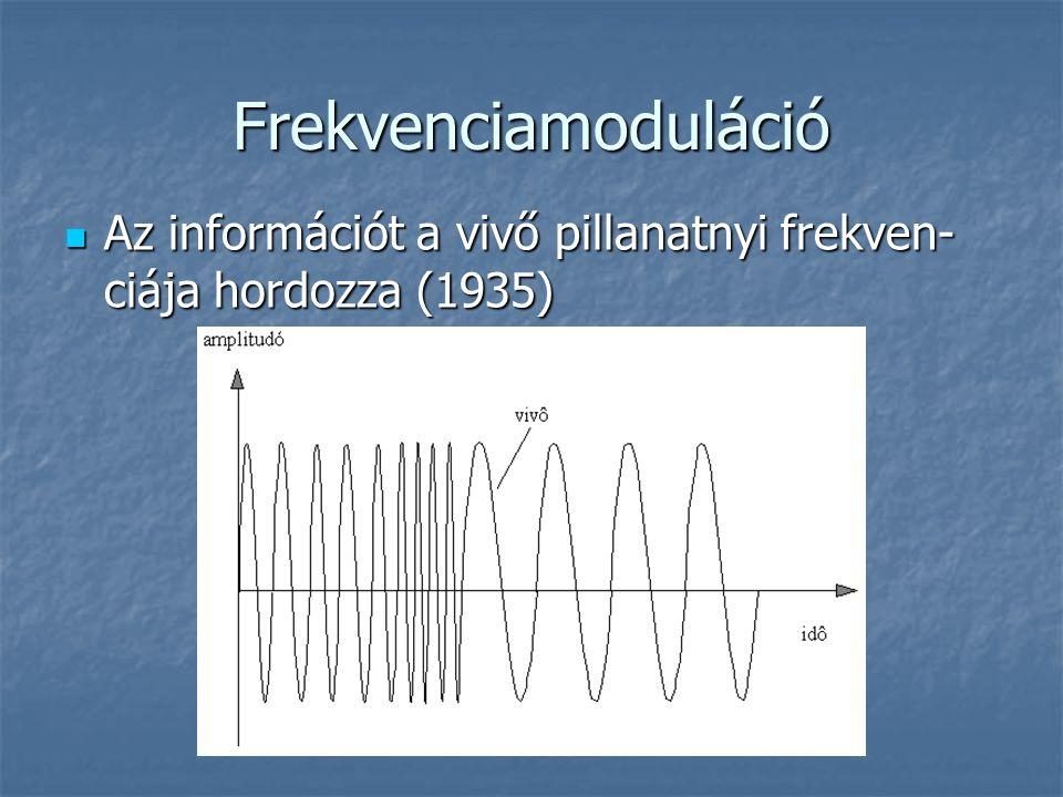 Frekvenciamoduláció  Az információt a vivő pillanatnyi frekven- ciája hordozza (1935)