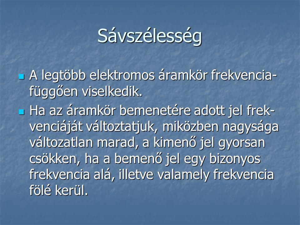 Sávszélesség  A legtöbb elektromos áramkör frekvencia- függően viselkedik.  Ha az áramkör bemenetére adott jel frek- venciáját változtatjuk, miközbe