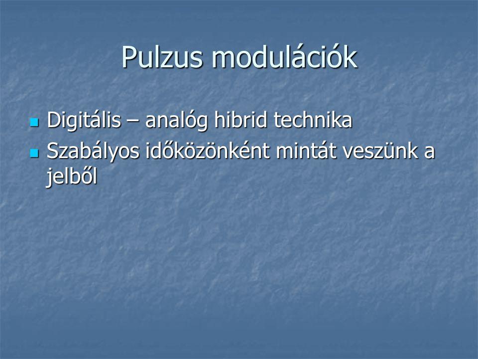Pulzus modulációk  Digitális – analóg hibrid technika  Szabályos időközönként mintát veszünk a jelből