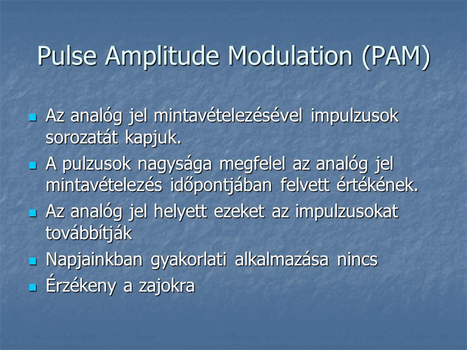 Pulse Amplitude Modulation (PAM)  Az analóg jel mintavételezésével impulzusok sorozatát kapjuk.  A pulzusok nagysága megfelel az analóg jel mintavét