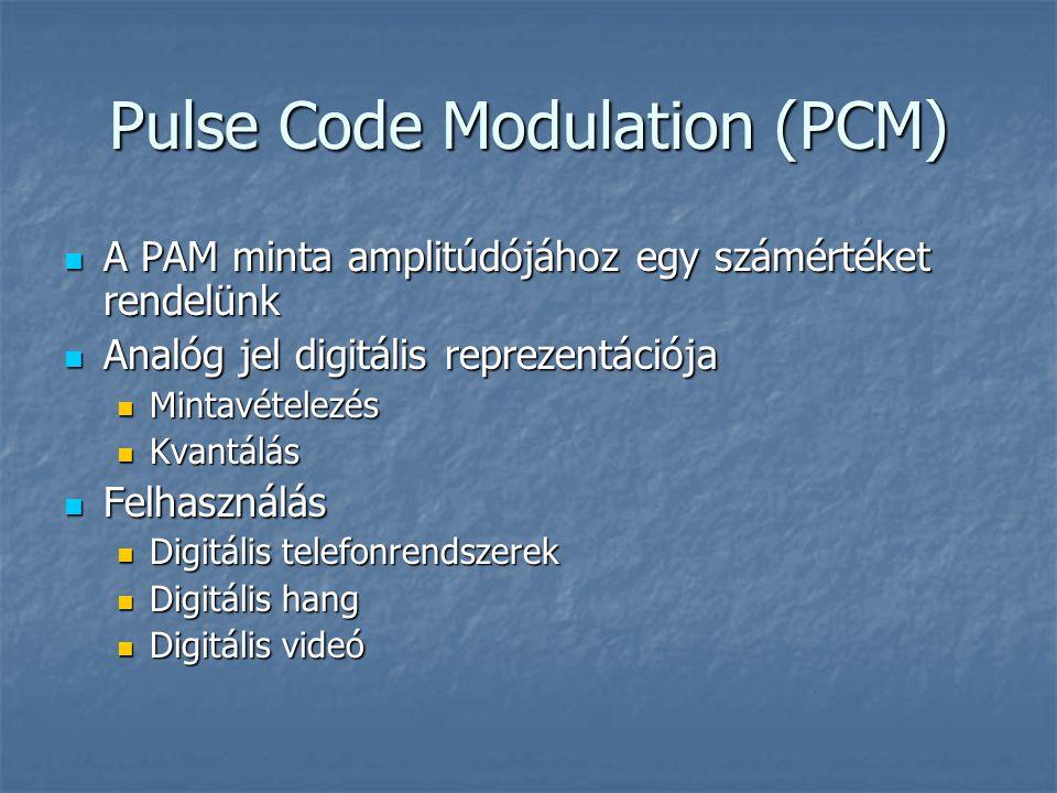 Pulse Code Modulation (PCM)  A PAM minta amplitúdójához egy számértéket rendelünk  Analóg jel digitális reprezentációja  Mintavételezés  Kvantálás